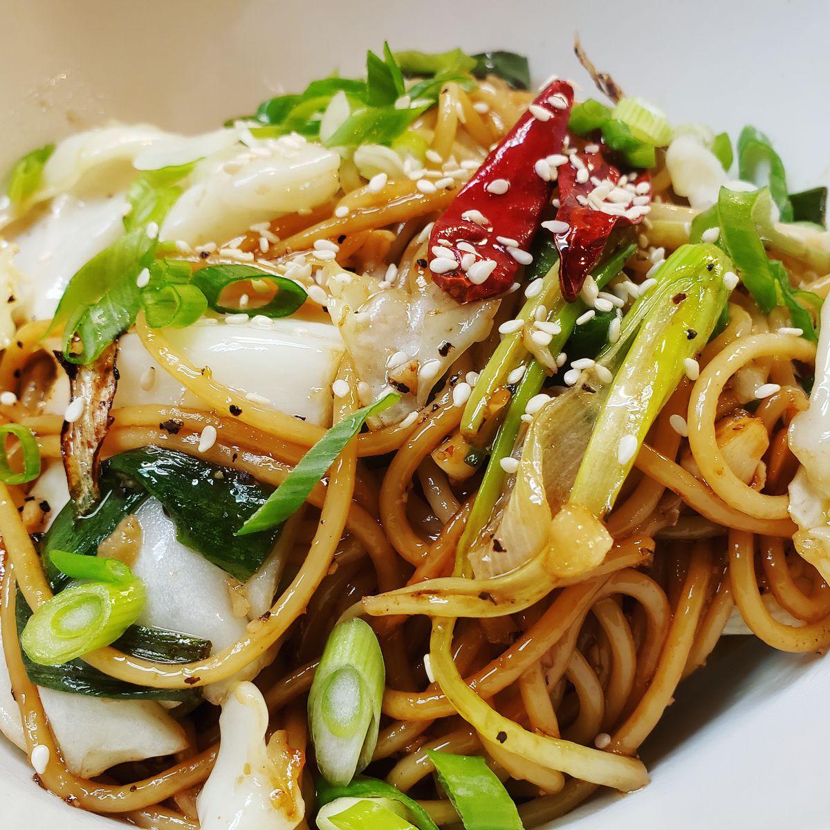 A closeup of sesame noodles at Zheng Cafe.