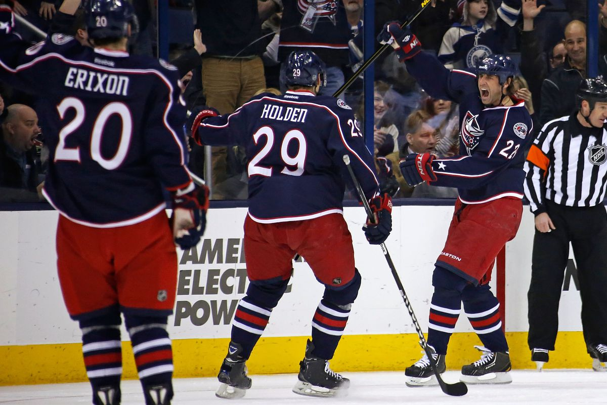 Erixon and Holden after a Prospal goal. How long will they remain in Columbus?