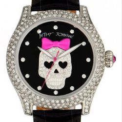 """<a href=""""http://shop.nordstrom.com/s/betsey-johnson-bling-bling-time-skull-dial-leather-strap-watch/3231222?origin=keywordsearch&resultback=950"""" rel=""""nofollow"""">Betsey Johnson Bling Bling Time Skull Dial Leather Print Watch</a>: $175"""