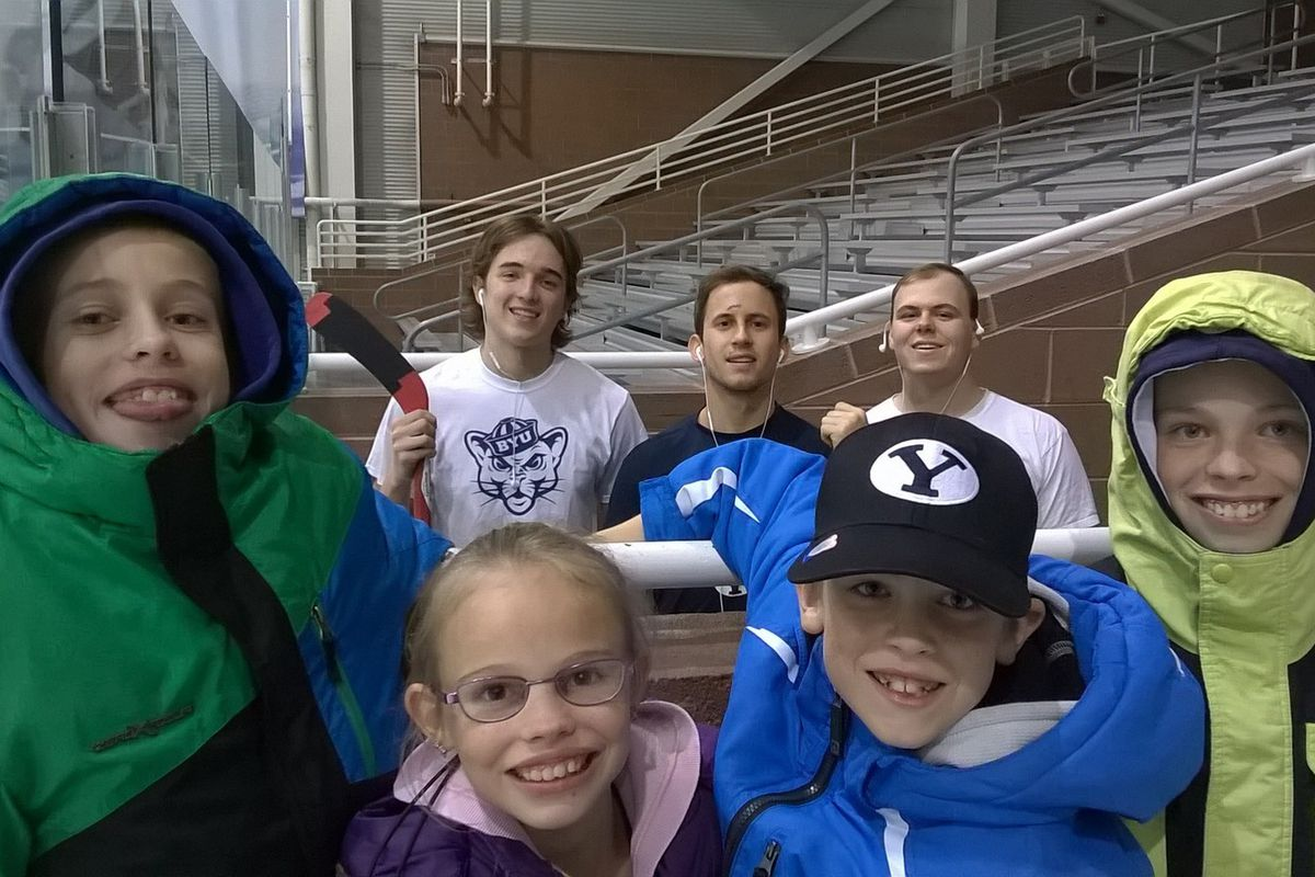 Kids enjoy the family atmosphere with BYU Hockey players