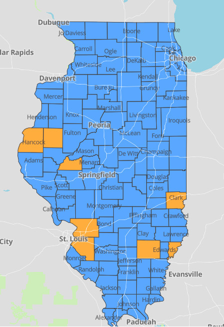"""Orange counties on this map of Illinois are considered to be a COVID-19 """"warning level."""""""