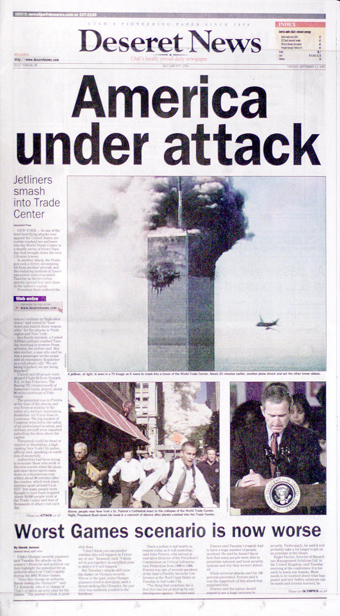 Deseret News front page September 11, 2001, the day of the World Trade Center and Pentagon attacks by terrorists.
