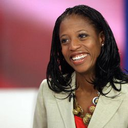 Mia Love, Utah 4th Congressional District Republican candidate, talks with KSL-TV news anchors Mike Headrick and Nadine Wimmer in Salt Lake City Tuesday, Nov. 6, 2012.