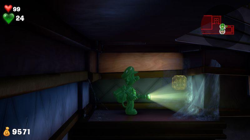 Luigi s Mansion 3 B1 service stairwell  yellow gem  3 - Luigi's Mansion 3 - Guida: come trovare tutte le gemme dei piani B2 e B1
