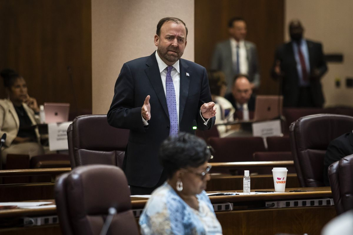 Ald. Brendan Reilly (42nd) spoke at the Friday, June 25, 2021 Chicago City Council meeting to argue in vain against the ordinance renaming Lake Shore Drive to honor Jean Baptiste Point DuSable.