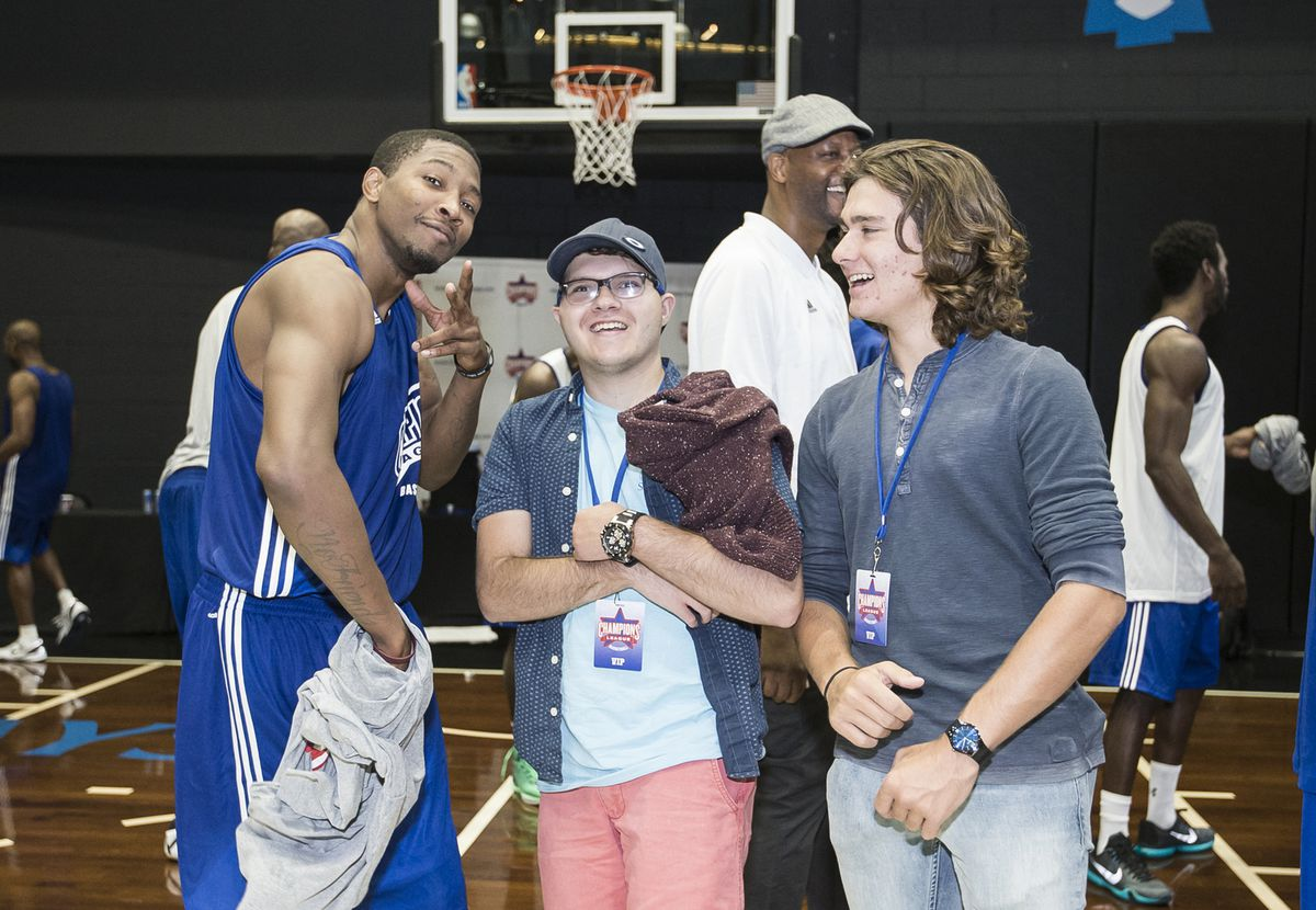 CBL player Armon Johnson with some fans