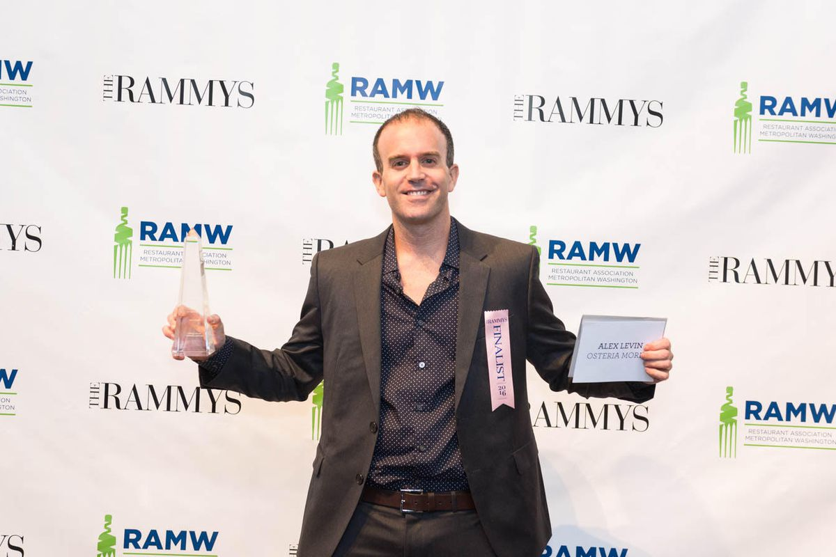 Alex Levin takes home the Pastry Chef of the Year award at the Rammys