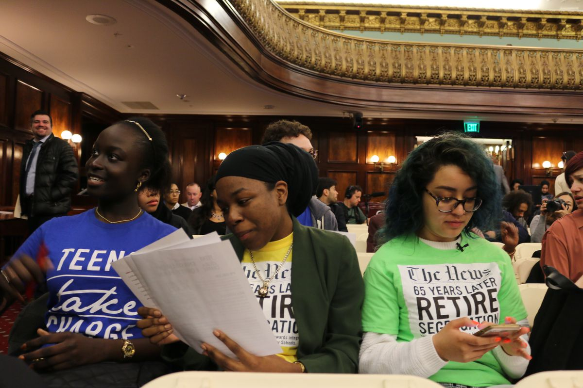 New York City student activists get ready to testify at a City Council hearing on school segregation.