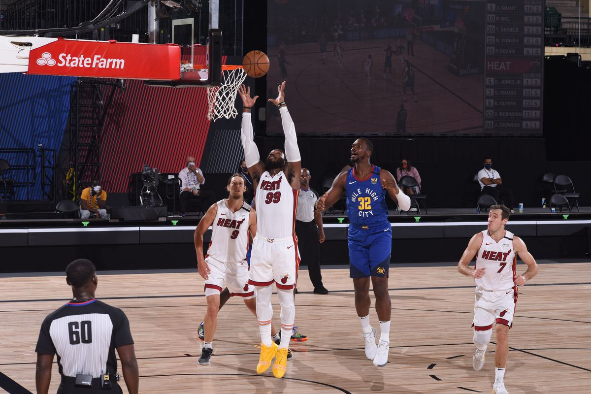 Jae Crowder of the Miami Heat grabs the rebound against the Denver Nuggets during a game on August 1, 2020 at HP Field House at ESPN Wide World of Sports in Orlando, Florida.