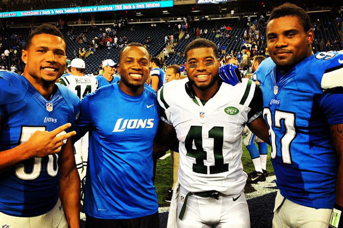 Former Sooners (from left to right) Travis Lewis, Ryan Broyles, Mossis Madu, and Ronnell Lewis