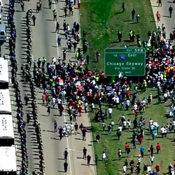 Protesters march on the inbound Dan Ryan Expressway.   Courtesy of ABC 7 – WLS Chicago