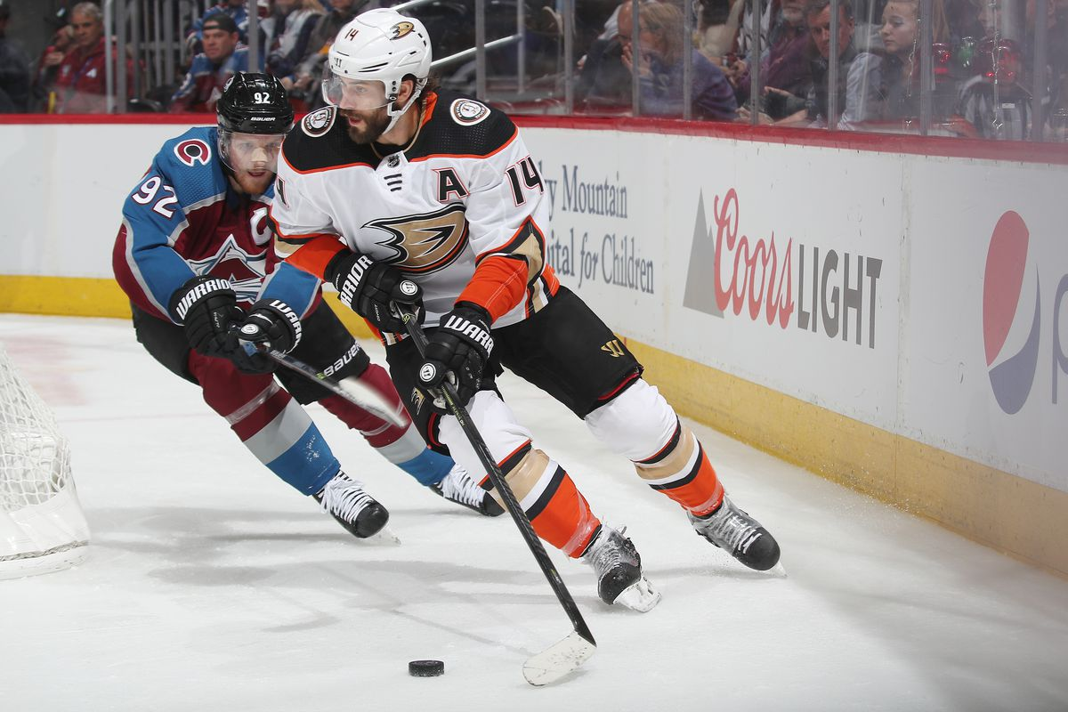 Adam Henrique #14 of the Anaheim Ducks skates against the Colorado Avalanche at Pepsi Center on March 4, 2020 in Denver, Colorado. The Ducks defeated the Avalanche 4-3 in overtime.