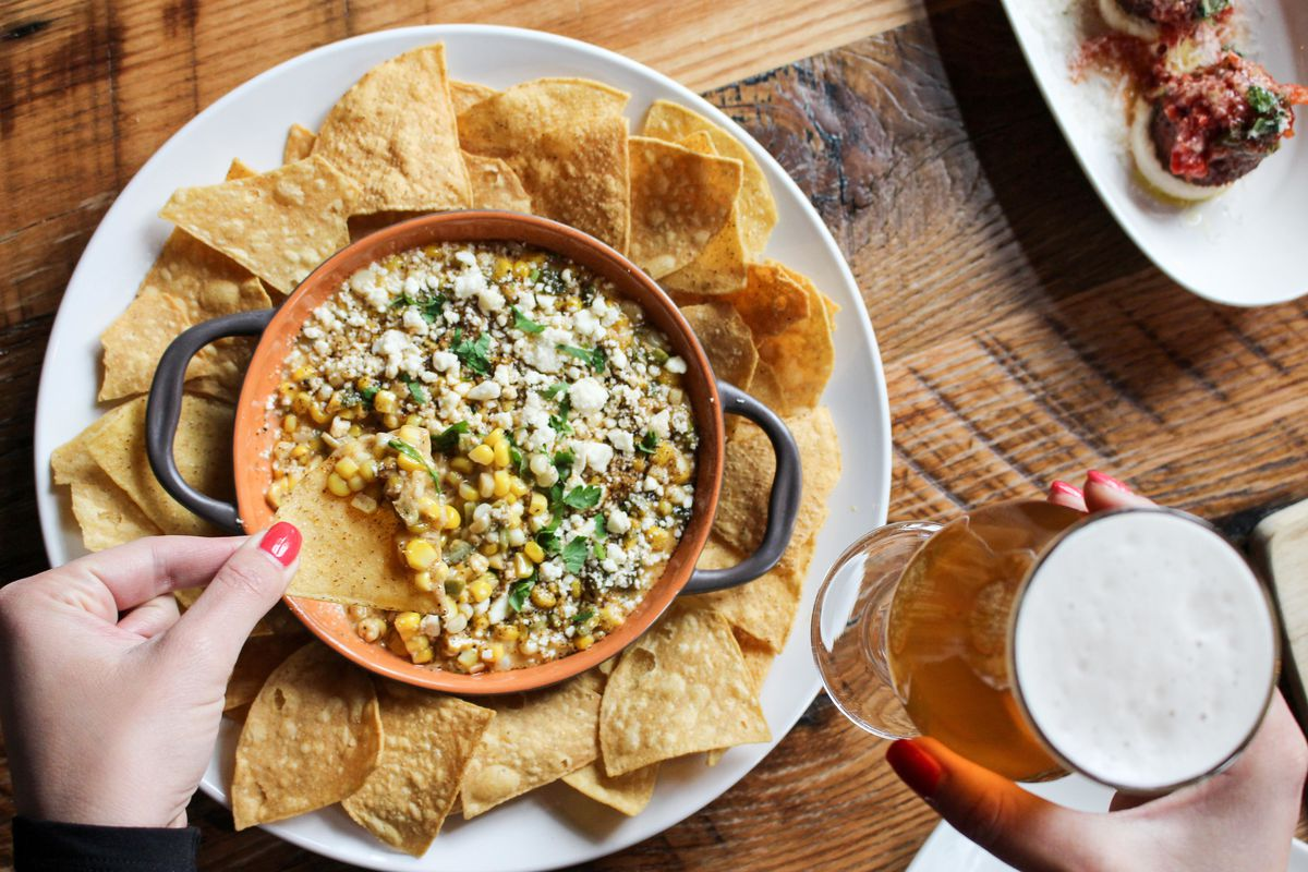 A bowl of elote dip at City Tap House