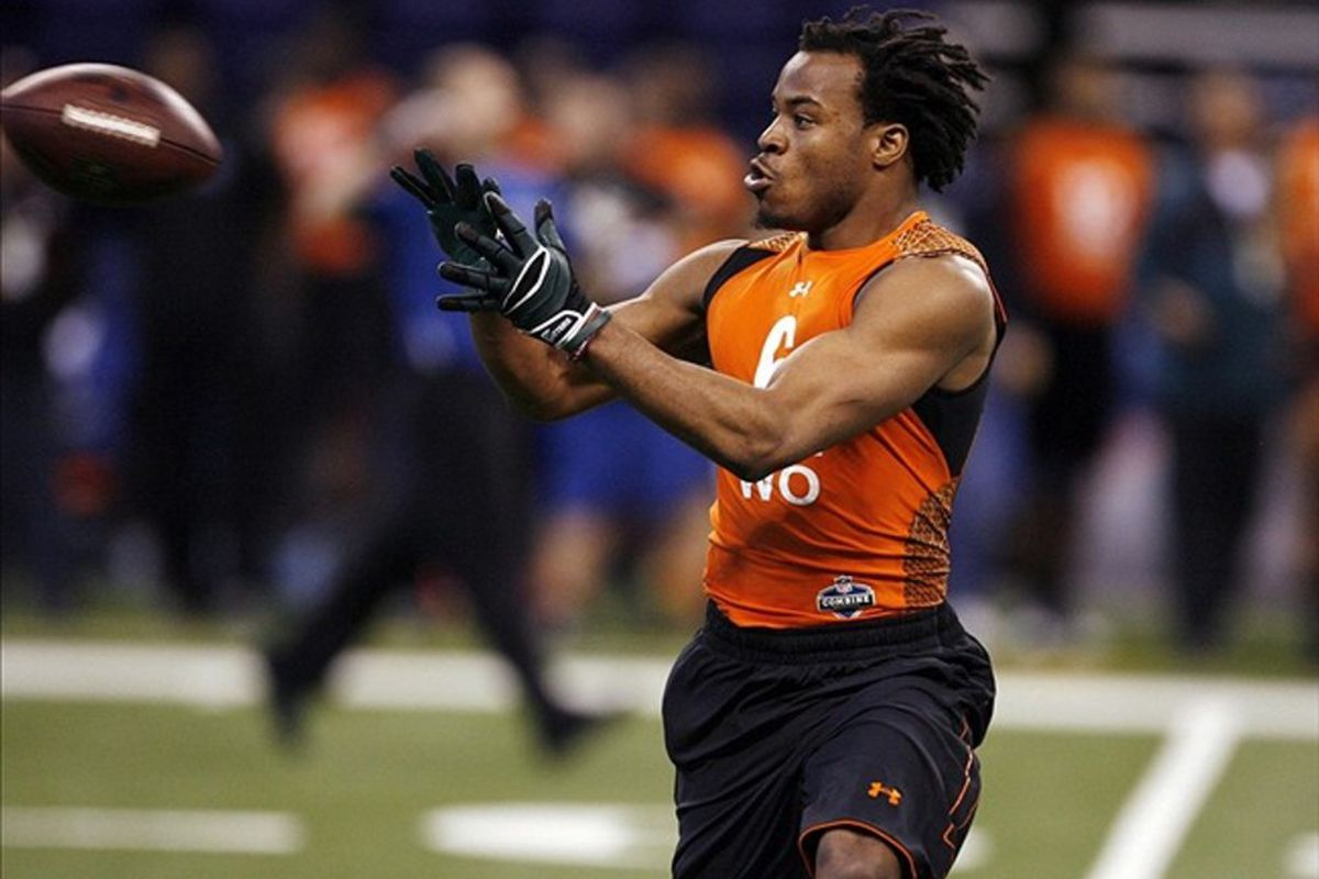 Feb 26, 2012; Indianapolis, IN, USA; Ohio wide receiver Lavon Brazill participates in a catch and run drill during the NFL Combine at Lucas Oil Stadium. Mandatory Credit: Brian Spurlock-US PRESSWIRE