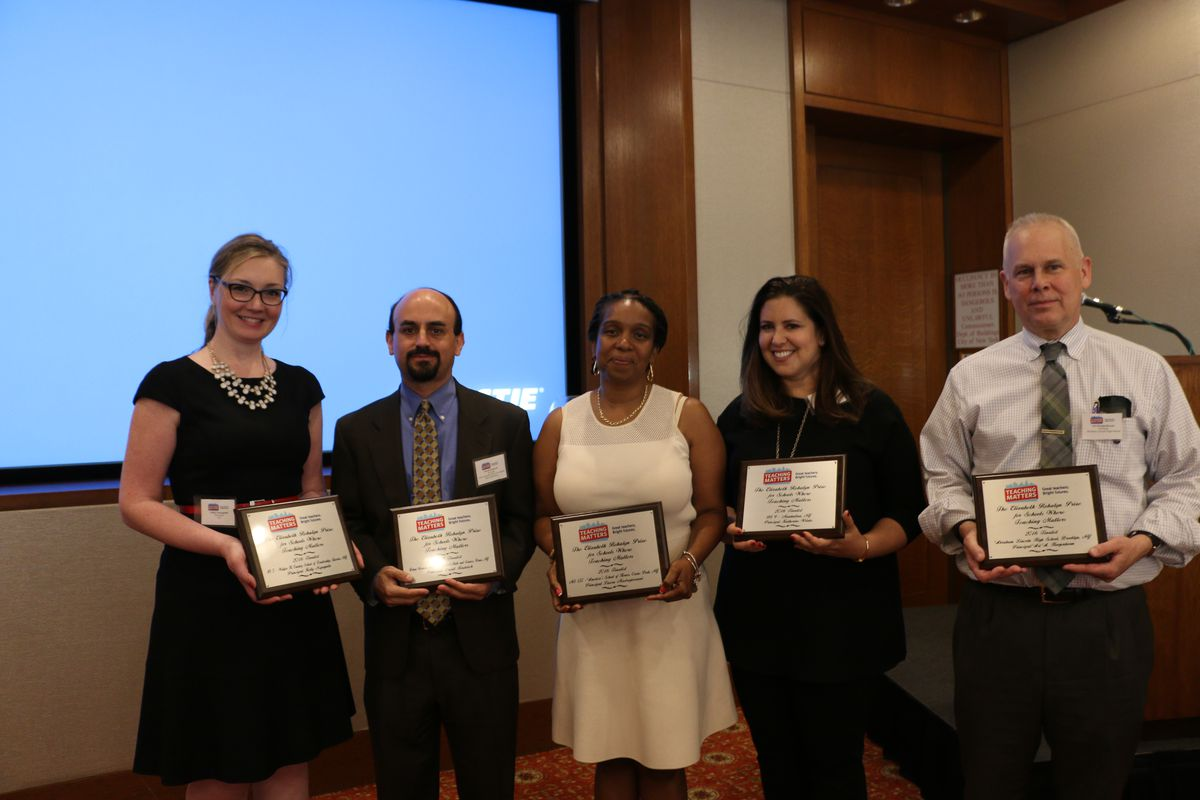 Joanna Freedman (second from right), pictured here with four other semi-finalists, accepted the grand prize Teaching Matters award