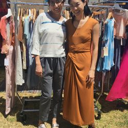 Designer Jill Aiko Yee and helper Jessica sported her own label.