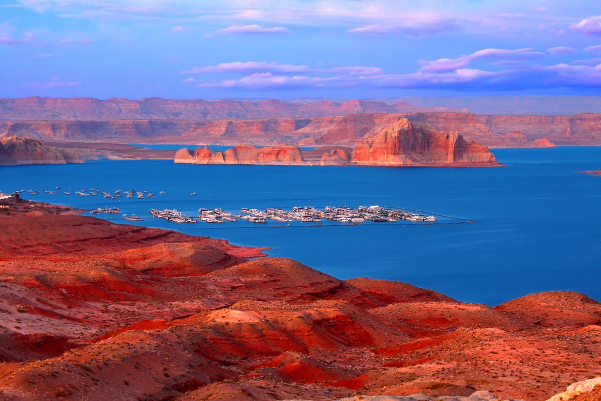 Twilight over Lake Powell in Glen Canyon National Recreation Area.