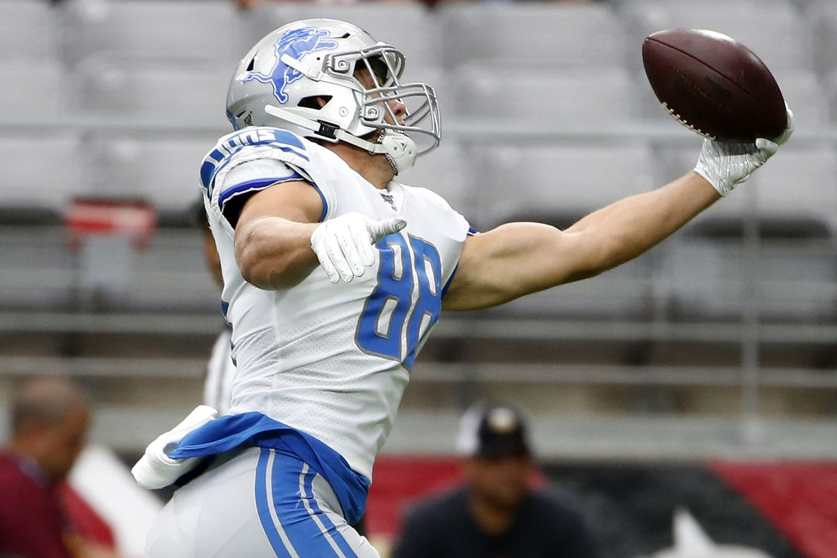 Tight end T.J. Hockenson #88 of the Detroit Lions catches a pass prior to the NFL football game against the Arizona Cardinals at State Farm Stadium on September 08, 2019 in Glendale, Arizona.