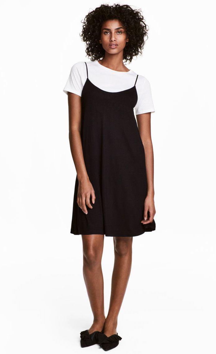 A model wearing a black dress