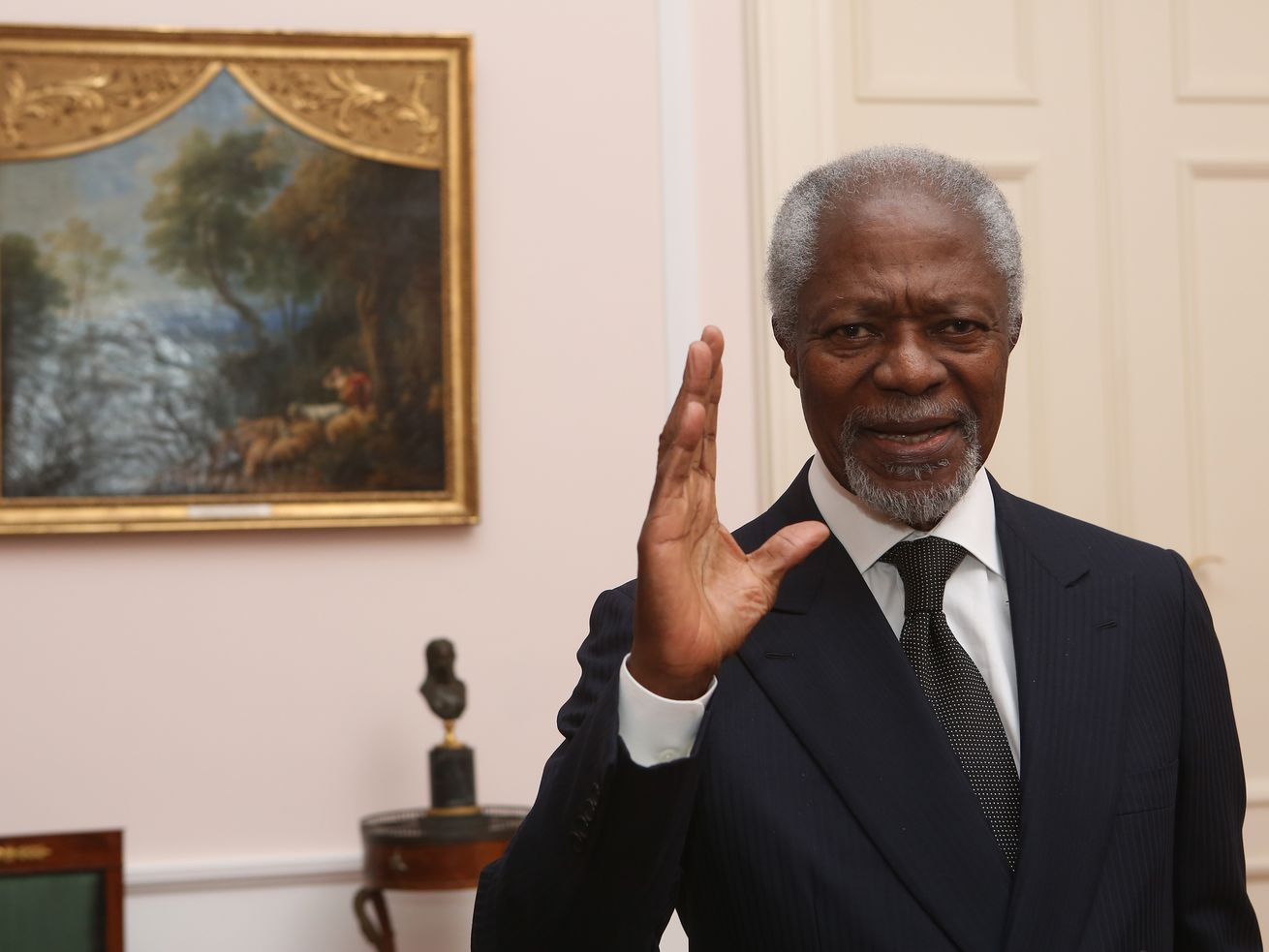 Former secretary general of the United Nations Kofi Annan attends a dinner in honor of Former German President Horst Koehler during the latter's 75th birthday at Bellevue Palace on March 8, 2018 in Berlin, Germany.