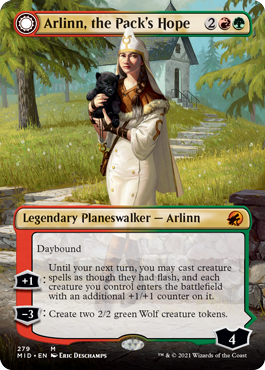 Arlinn, the Pack's Hope shows the planeswalker dressed in white and carrying a bear cub.