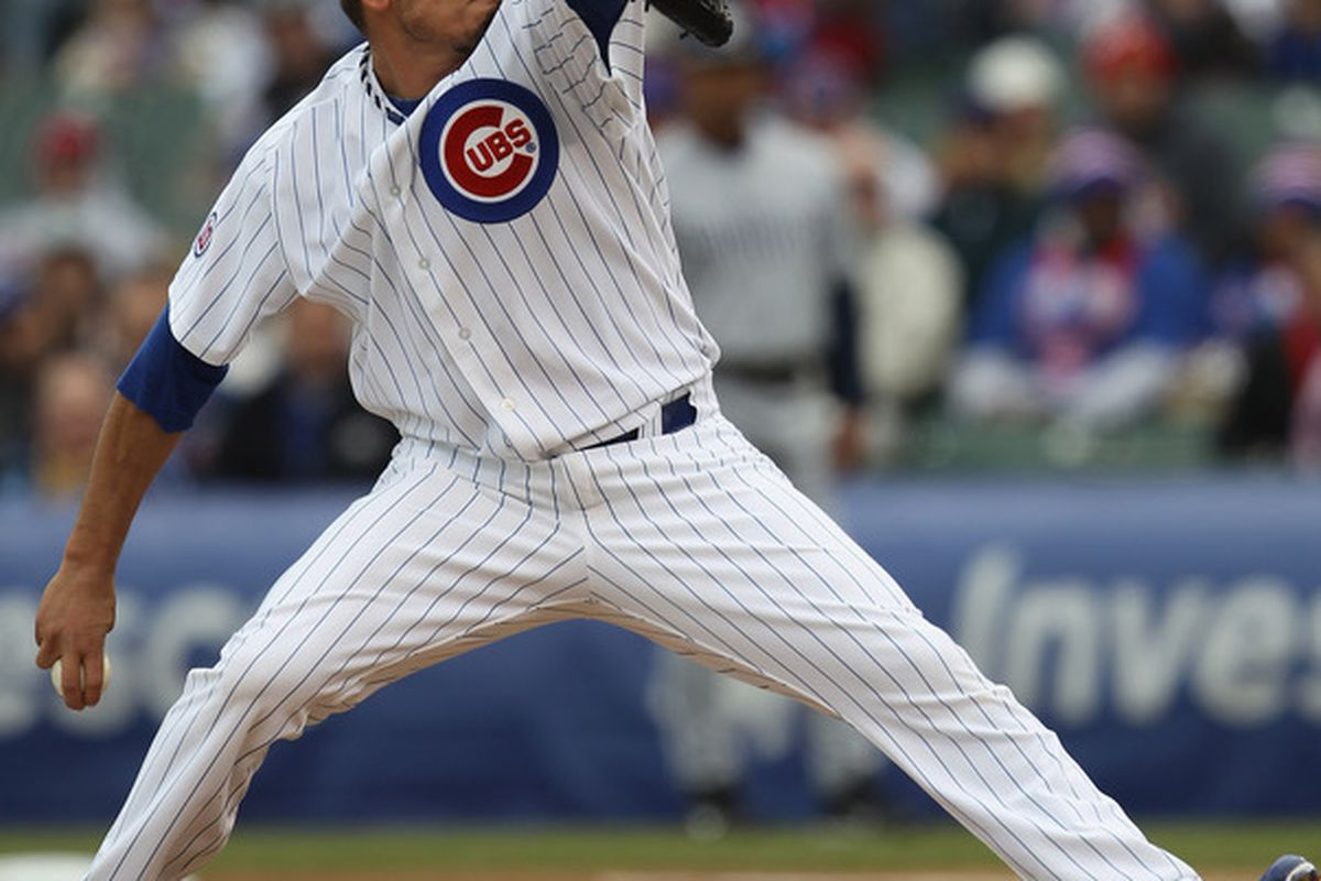 Starting pitcher Matt Garza of the Chicago Cubs delivers the ball against the San Diego Padres at Wrigley Field on April 20, 2011 in Chicago, Illinois. (Photo by Jonathan Daniel/Getty Images)