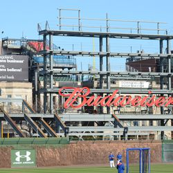 5:12 p.m. Another view of the right-field video board structure -