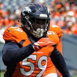 Broncos rookie OLB Malik Reed focused on his target during practice at Broncos Stadium at Mile High.
