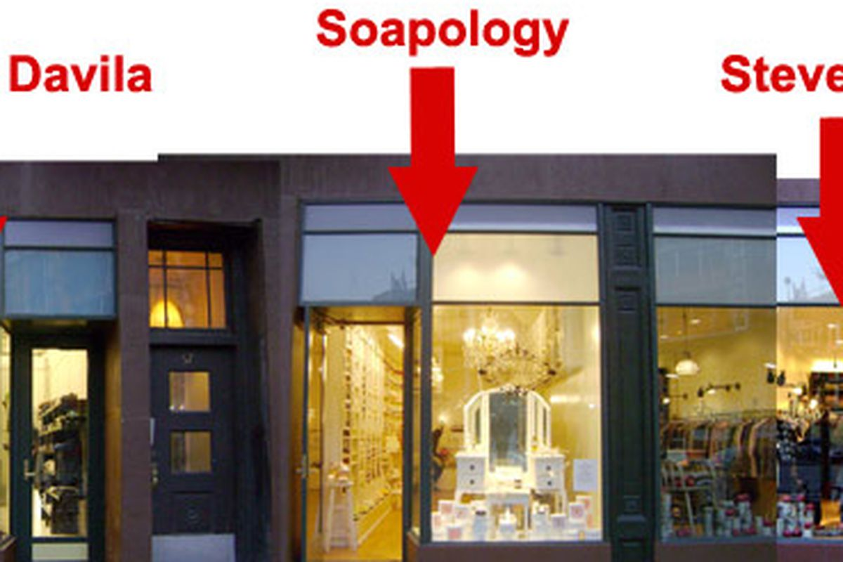 """Handy graphic from Sergio Davila's <a href=""""http://ny.racked.com/archives/2008/11/11/now_open_sergio_davila_soapology_and_steven_alan_on_8th_avenue.php"""">opening</a>, two years ago"""