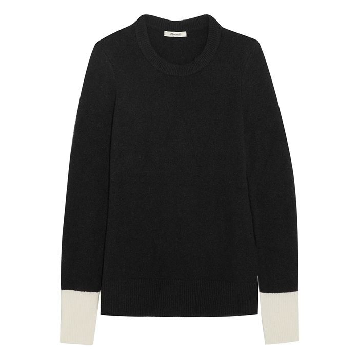 Black Madewell sweater with white accents