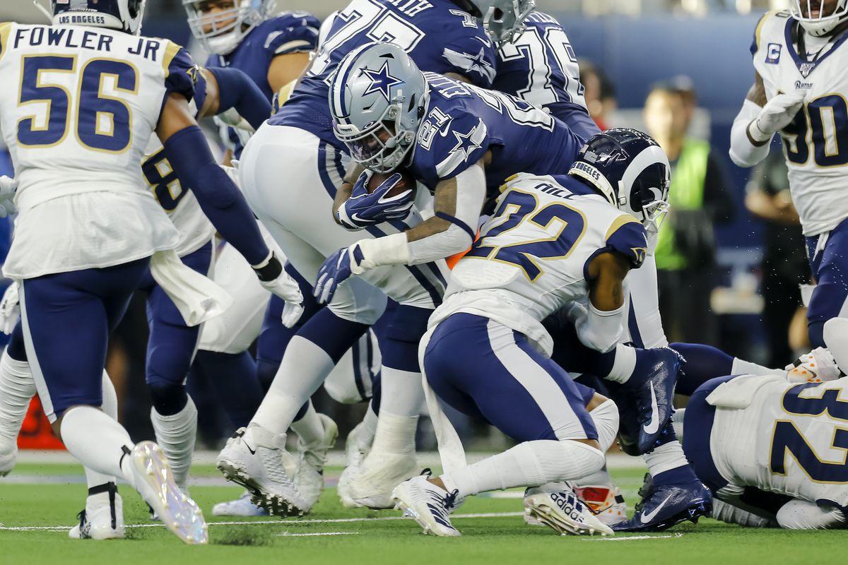 Los Angeles Rams CB Troy Hill tackles Dallas Cowboys RB Ezekiel Elliottin Week 15, Dec. 15, 2019.