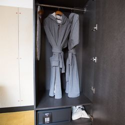 Cozy and sleek bathrobes provided by wings+horns.