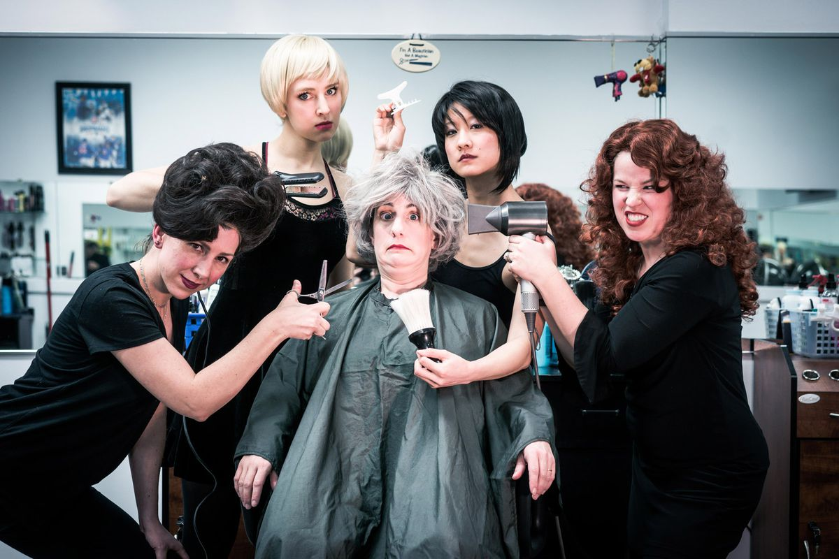"""The cast of Akvavit Theatre's U.S. premiere of """"Bad Girls: The Stylists"""" includes Jennifer Adams (from left), Kim Boler, Jennifer Cheung, Kirstin Franklin and Madelyn Loehr.   Provided Photo"""