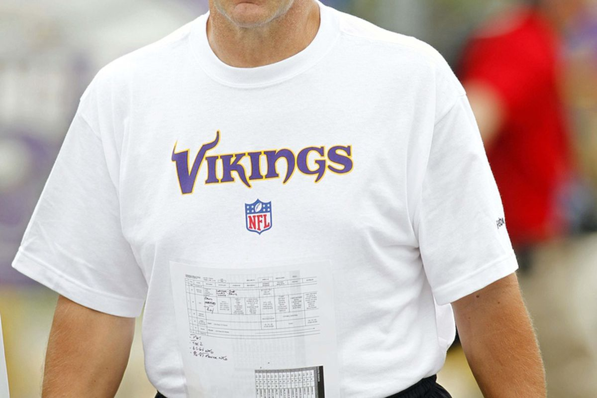 Minnesota Vikings quarterback coach Kevin Rogers walks to the field to start training camp at Blakeslee Field at the Minnesota State University. Mandatory Credit: Bruce Kluckhohn-US PRESSWIRE