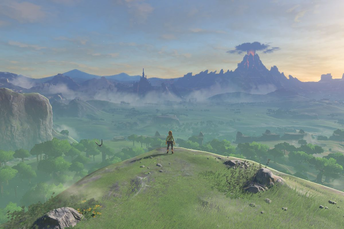 The Legend of Zelda: Breath of the Wild - Link looking out at Hyrule