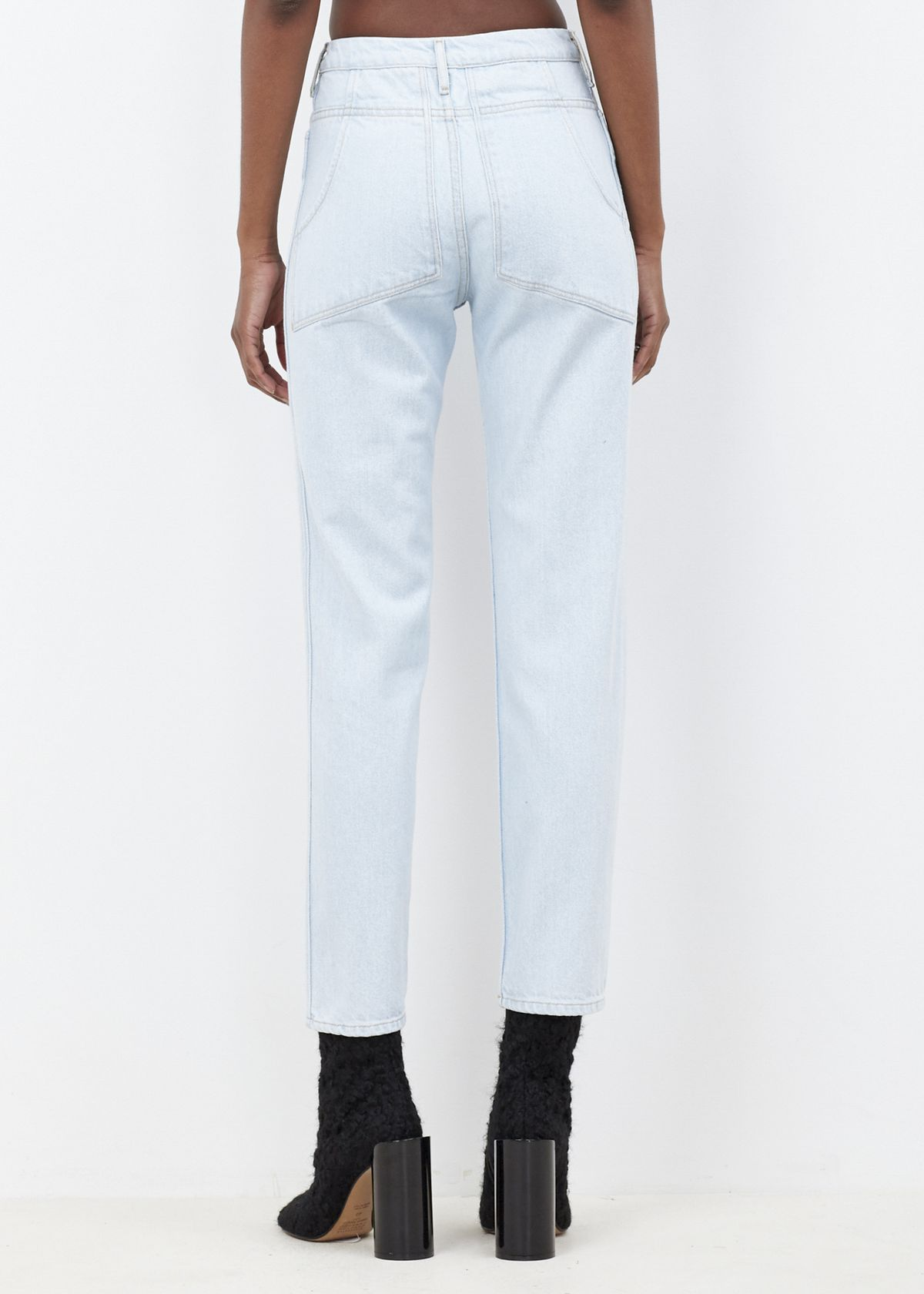back view of jeans with slanted pockets