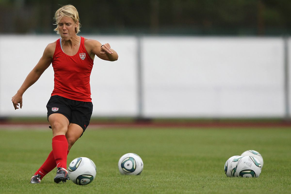FRANKFURT AM MAIN, GERMANY - JULY 14: Lori Lindsey of USA shoots the ball during the USA team training session at training ground Rebstock on July 14, 2011 in Frankfurt am Main, Germany. (Photo by Christof Koepsel/Getty Images)
