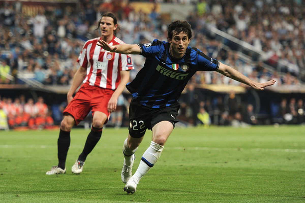 Inter's Diego Milito celebrates his Champions League Final brace against FC Bayern Munich on May 22, 2010 in Madrid, Spain.