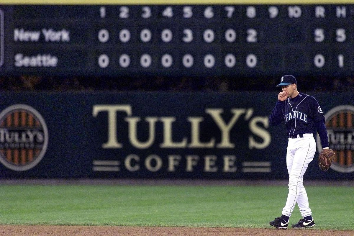 Alex Rodriguez of the Seattle Mariners stands in f
