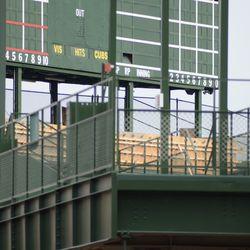12:32 p.m. The top of the center field bleachers, under the scoreboard -