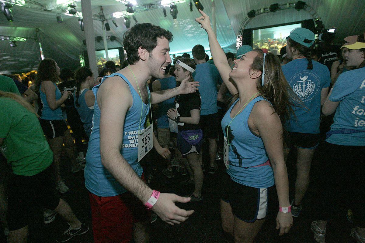 Northwestern students Avy Faingezicht (left) and Erin Anderson at the 2013 Northwestern University Dance Marathon.