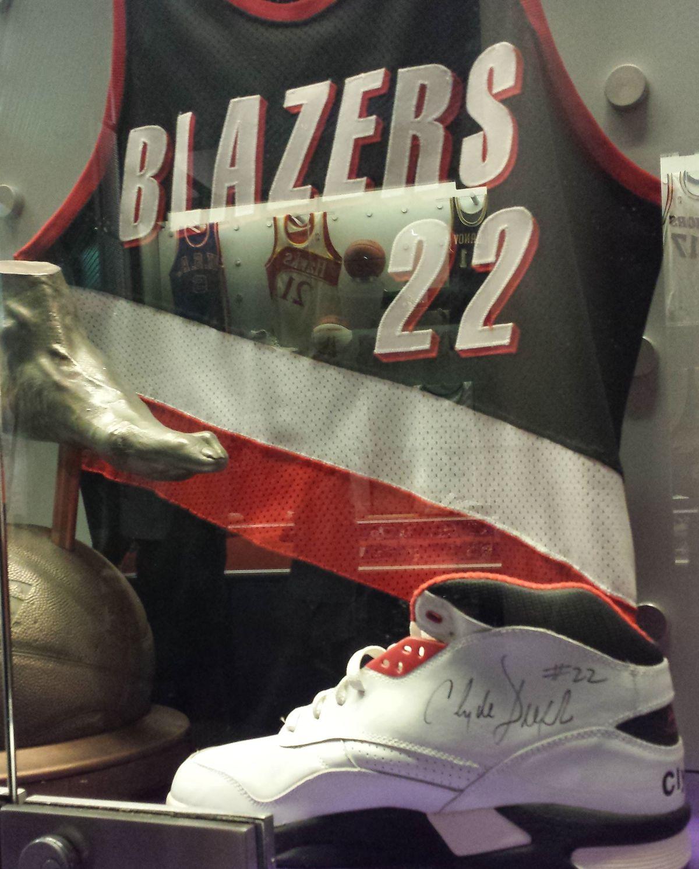 Drexler's Portland uniform and signature Avia shoes.