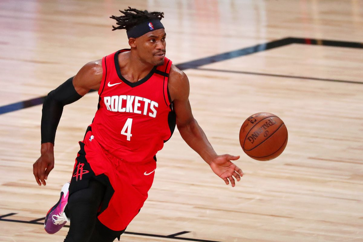 Houston Rockets forward Danuel House Jr. dribbles the ball against the Los Angeles Lakers during the first half of game two of the second round of the 2020 NBA Playoffs at AdventHealth Arena.