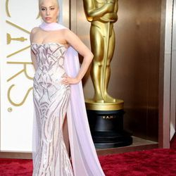 Lady Gaga donned lavender metallic Versace, found at the Shops at Crystals.