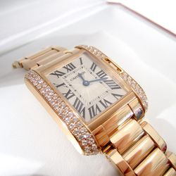 """Cartier 18K Pink Gold Diamond Tank Anglaise Watch, $20,000. """"New in Box. Crazy, Huh? Retailed for $30,000. Security guard not included."""""""