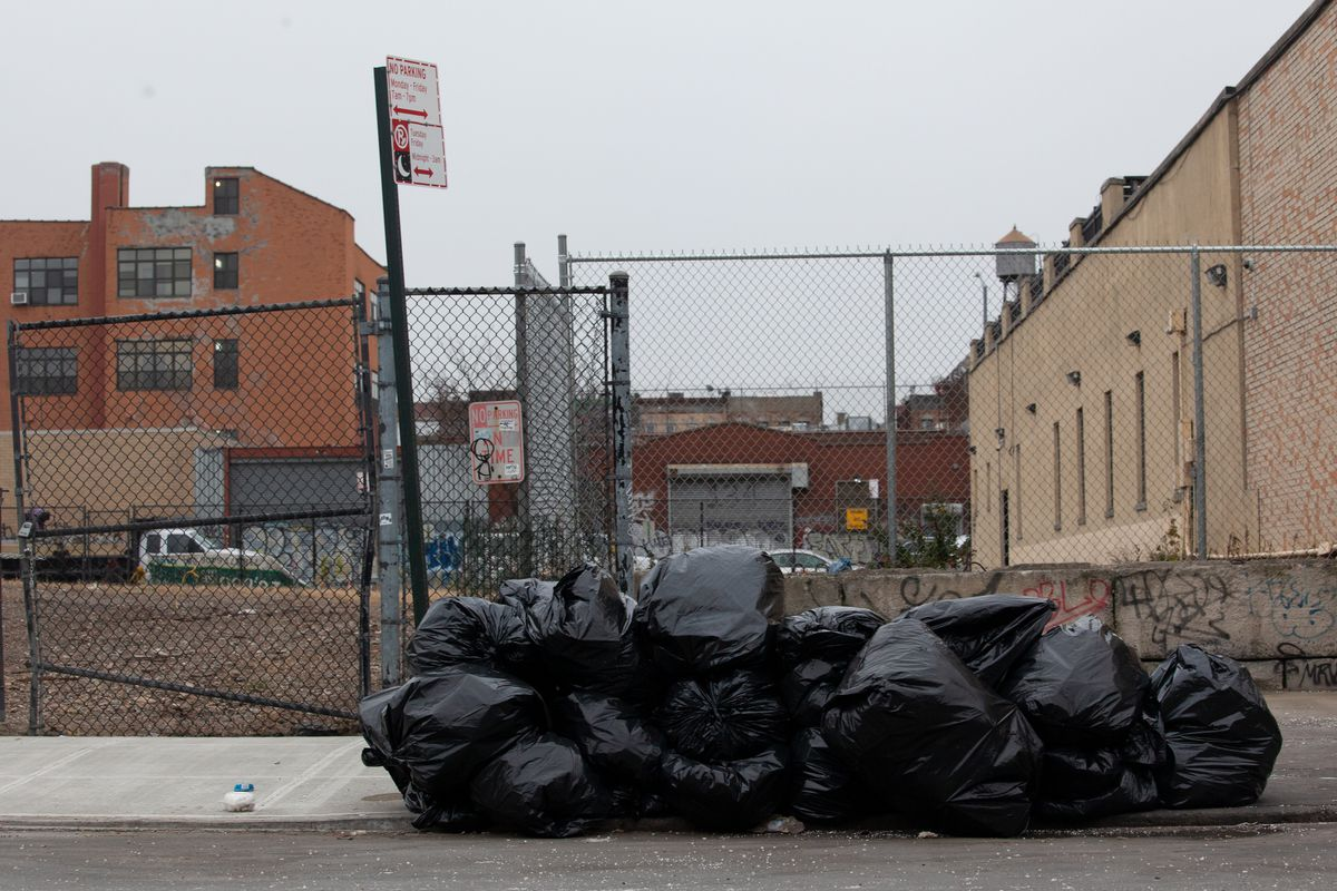 Garbage piled up along Johnson Avenue in East Williamsburg.