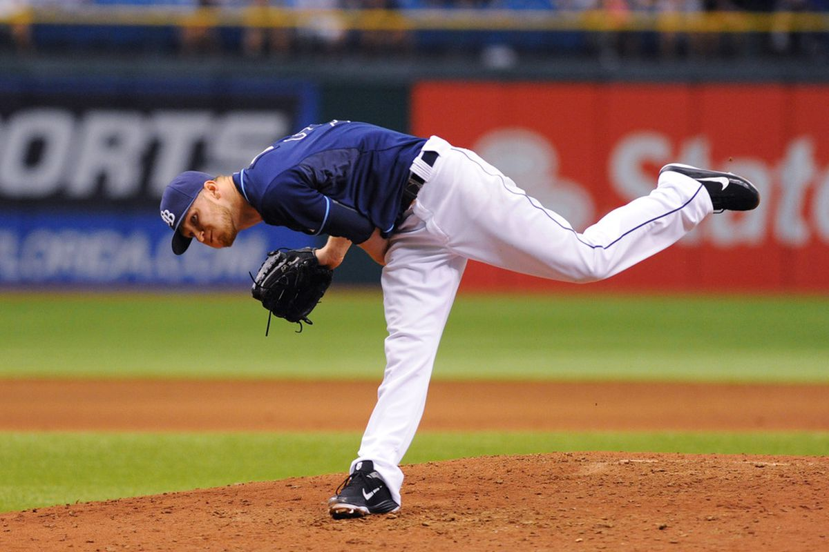 ST. PETERSBURG, FL - MAY 30:  Pitcher J. P. Howell #39 of the Tampa Bay Rays throws in relief against the Chicago White Sox May 30, 2012  at Tropicana Field in St. Petersburg, Florida.  (Photo by Al Messerschmidt/Getty Images)