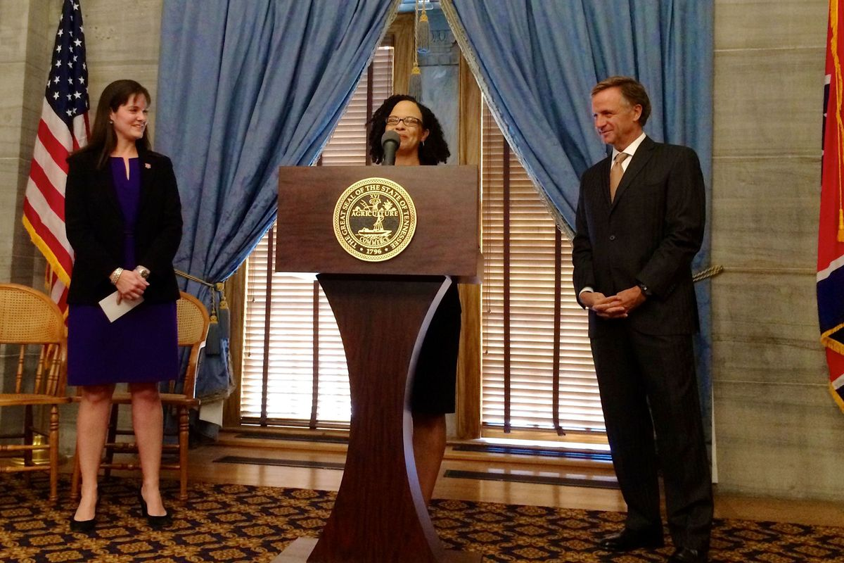 Malika Anderson was named superintendent of the Achievement School District in 2015 at the State Capitol, where she was flanked by Education Commissioner Candice McQueen and Gov. Bill Haslam.