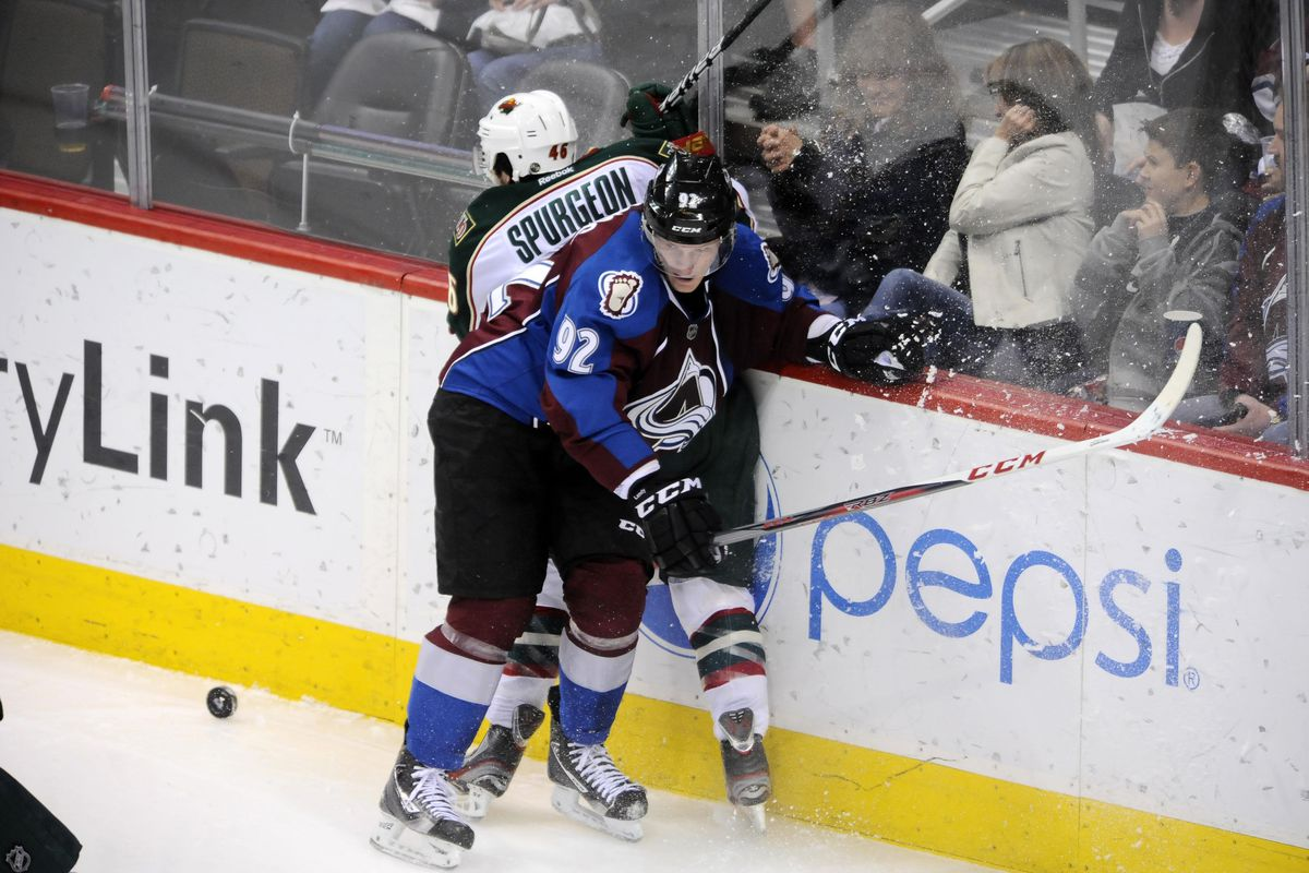 Will Jared Spurgeon return in time to mix it up with Gabriel Landeskog and the Avalanche on Sunday?