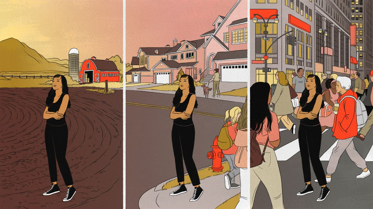 An illustration of an Asian woman hugging her arms in three environments: rural, suburban, and urban.
